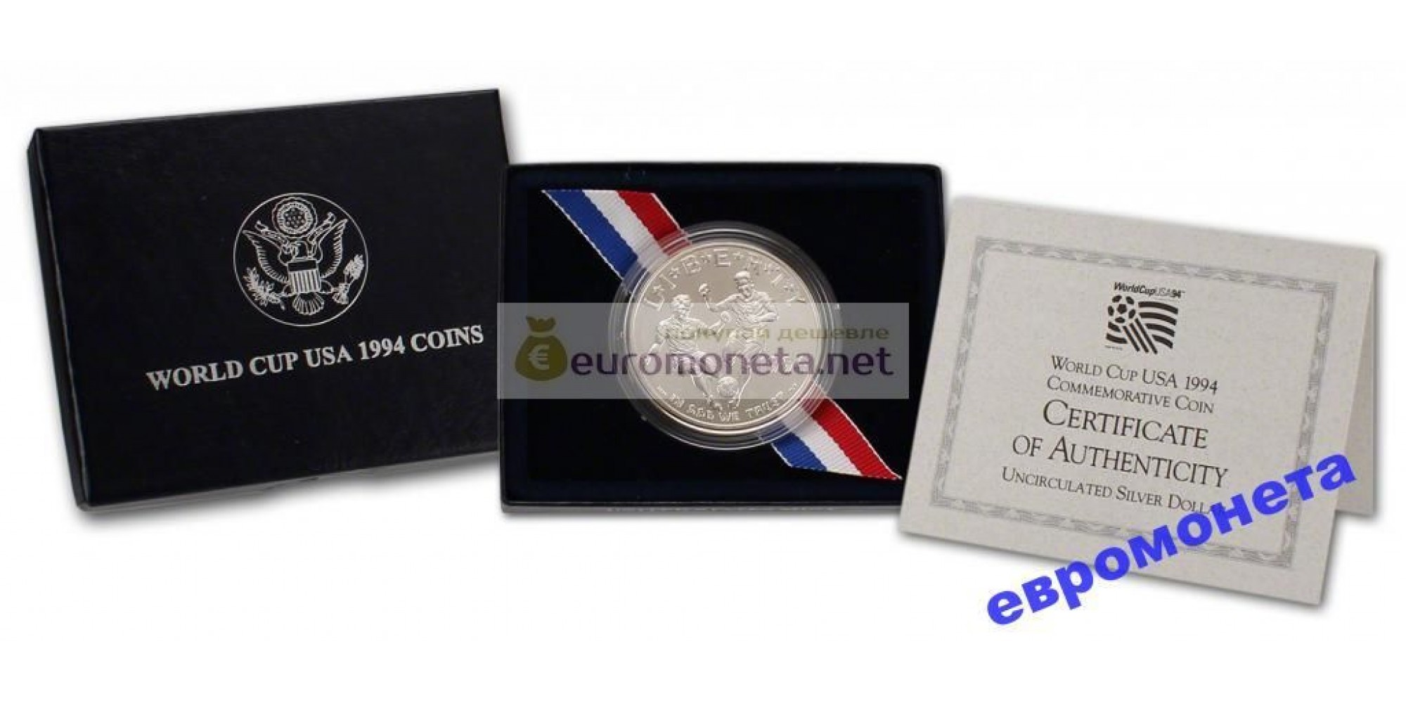 США доллар 1994 год монетный двор D пруф proof серебро футбол