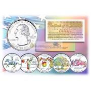 США набор квотеров 1999 голограмма 25 центов полный набор из 5 монет