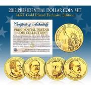 США 2012 монетный двор 24K золото Президентские $1 доллар монеты полный комплект из 4 монет