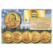 США 2013 квотер 25 центов 24K золото национальные парки Америки комплект из всех 5 монет