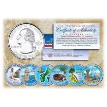 США 2009 квотер 25 центов цветные территории штаты набор из 6 монет
