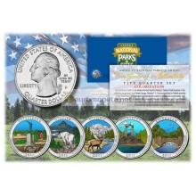 США 2011 квотер 25 центов цветные национальные парки Америки набор из 5 монет