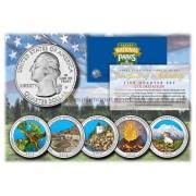 США 2012 квотер 25 центов цветные национальные парки Америки набор из 5 монет