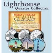 США квотер 25 центов цветные история Америки Маяки №7 набор из 3 монет