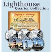США квотер 25 центов цветные история Америки Маяки №6 набор из 3 монет