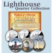 США квотер 25 центов цветные история Америки Маяки №2 набор из 3 монет