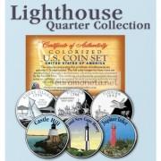 США квотер 25 центов цветные история Америки Маяки №9 набор из 3 монет