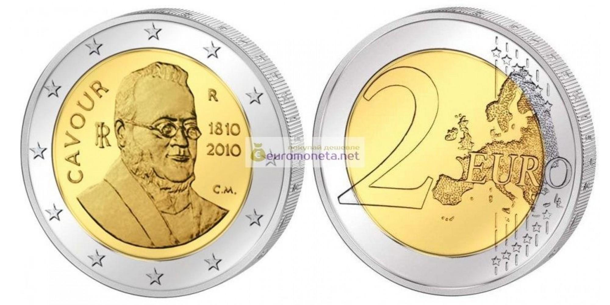 Италия 2 евро 2010 год UNC 200 лет со дня рождения Камилло Кавура, биметалл