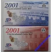 США годовой набор 2001 P D UNC АЦ 20 монет