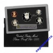 США годовой набор 1997 S 5 монет серебро ПРУФ