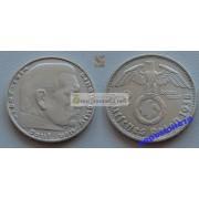 Германия 3 рейх 2 марки 1938 D свастика серебро Гинденбург состояние