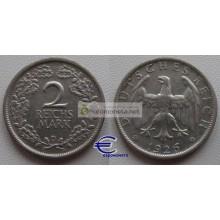 Германия Веймарская республика 2 марки 1926 D серебро состояние