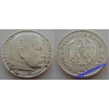 Германия 3 рейх 5 марок 1936 D серебро Гинденбург состояние