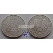 ФРГ 5 марок 1974 год F серебро 25 лет Основному закону ФРГ