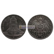 "Германская империя Саксония 3 марки 1913 год ""E"" 100 лет Битве народов. Серебро"