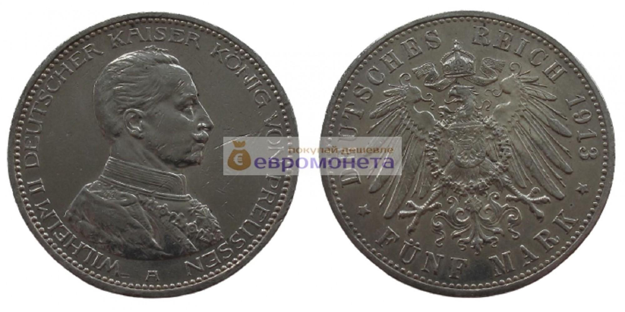 """Германская империя Пруссия 5 марок 1913 год """"A"""". Серебро"""