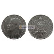 """Германская империя Баден 3 марки 1912 год """"G"""" Фридрих II Серебро"""