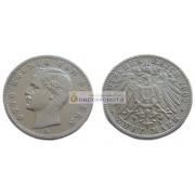 """Германская империя Бавария 2 марки 1902 год """"D"""" Отто. Серебро"""