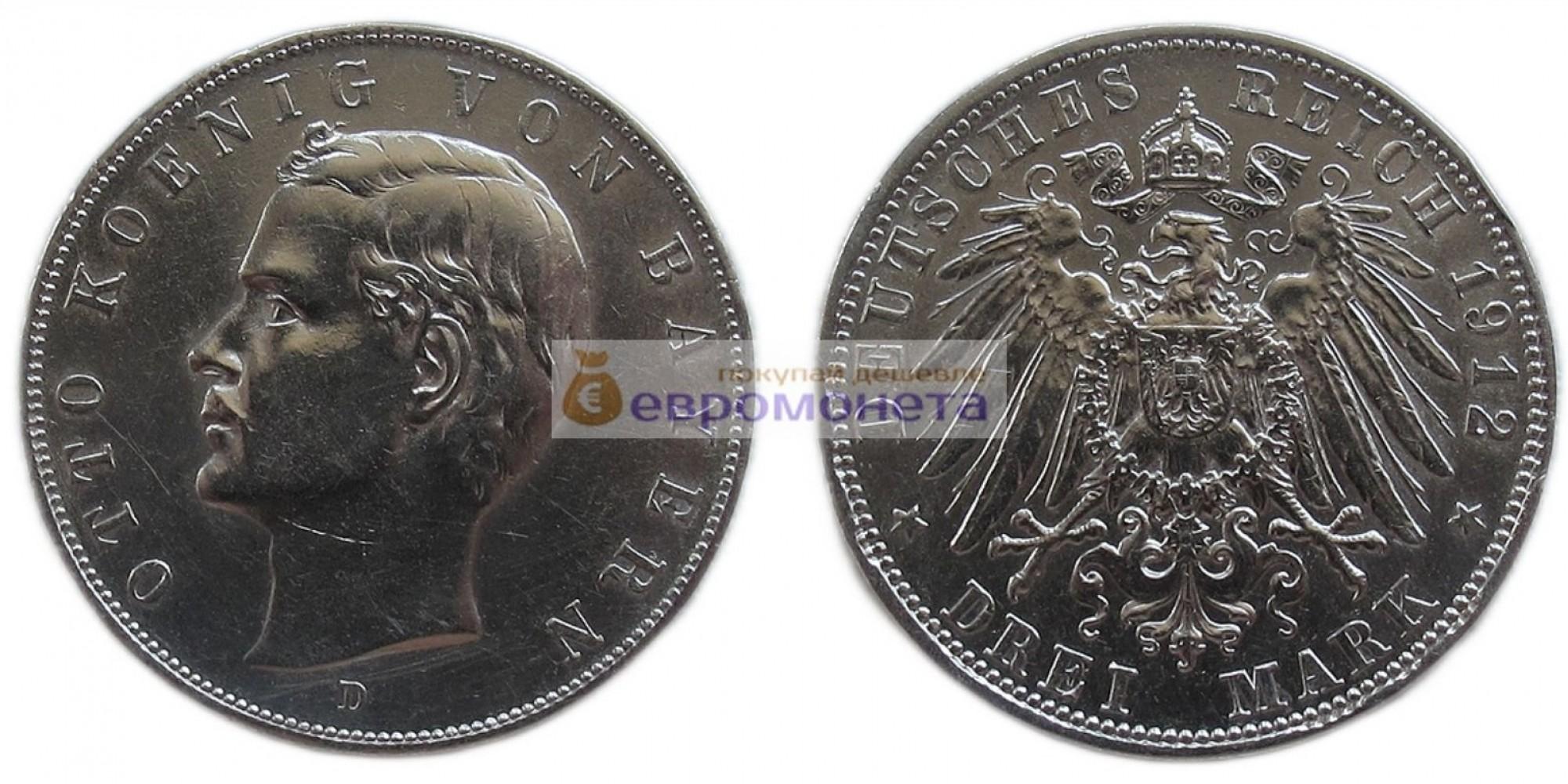 """Германская империя Бавария 3 марки 1912 год """"D"""" Отто. Серебро."""