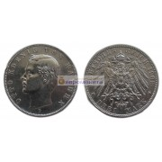 """Германская империя Бавария 3 марки 1909 год """"D"""" Отто. Серебро"""