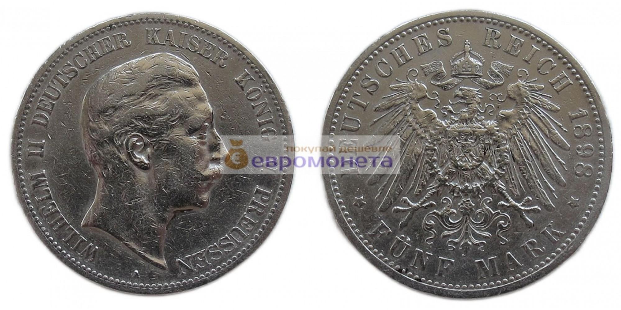 """Германская империя Пруссия 5 марок 1898 год """"A"""" Вильгельм II. Серебро."""