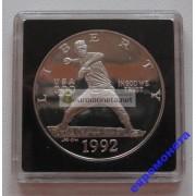 США доллар 1992 год монетный двор S пруф proof серебро бейсбол