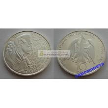 ФРГ 10 марок 1999 год F серебро 250-летие со дня рождения Гёте