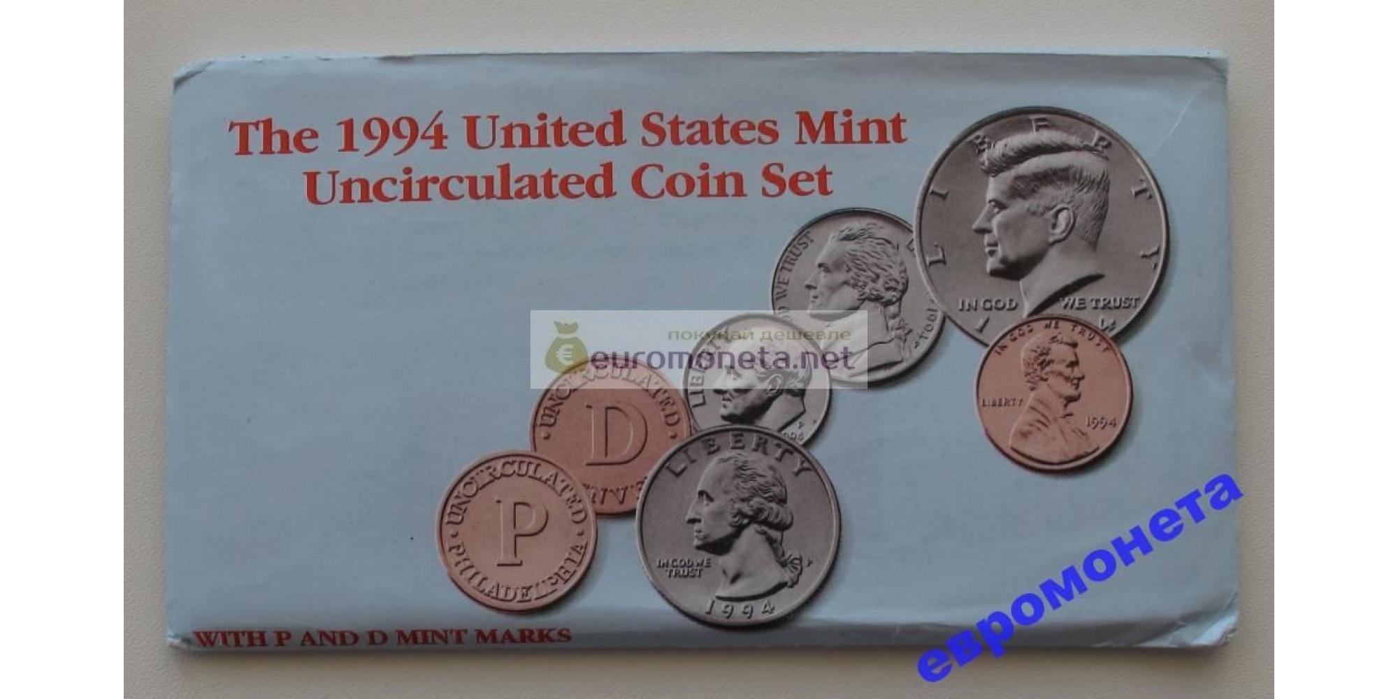 США полный набор монет 1994 год D P Кеннеди АЦ 10 монет