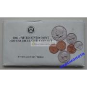 США полный годовой набор монет 1989 год 10 монет Кеннеди Денвер (D), Филадельфия (P) АЦ