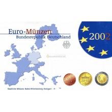 Германия годовой набор евро 2002 год F пластиковый бокс пруф