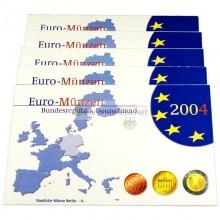 Германия годовой набор евро 2004 год F пластиковый бокс пруф