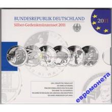 Германия набор монет 10 евро 2011 год серебро пруф