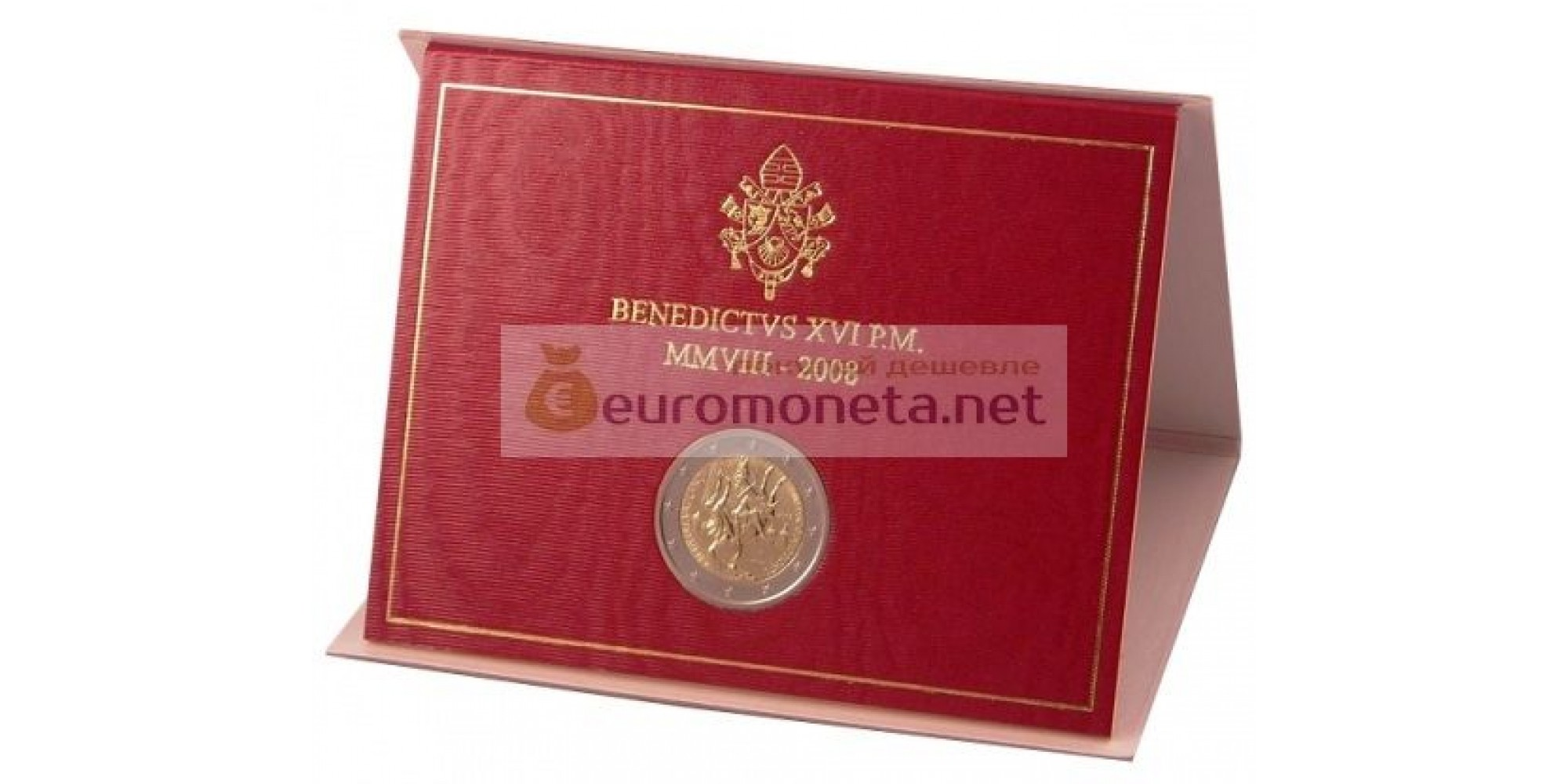 Ватикан 2 евро 2008 год Год Святого апостола Павла в буклете UNC Бенедикт XVI