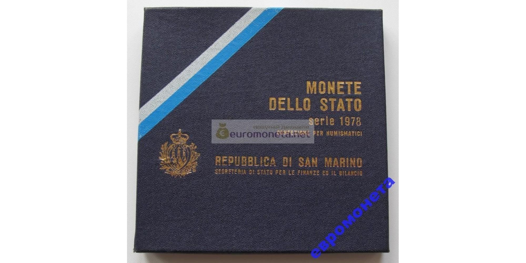 Сан-Марино набор монет 1978 год 9 монет включая 500 лир серебро UNC