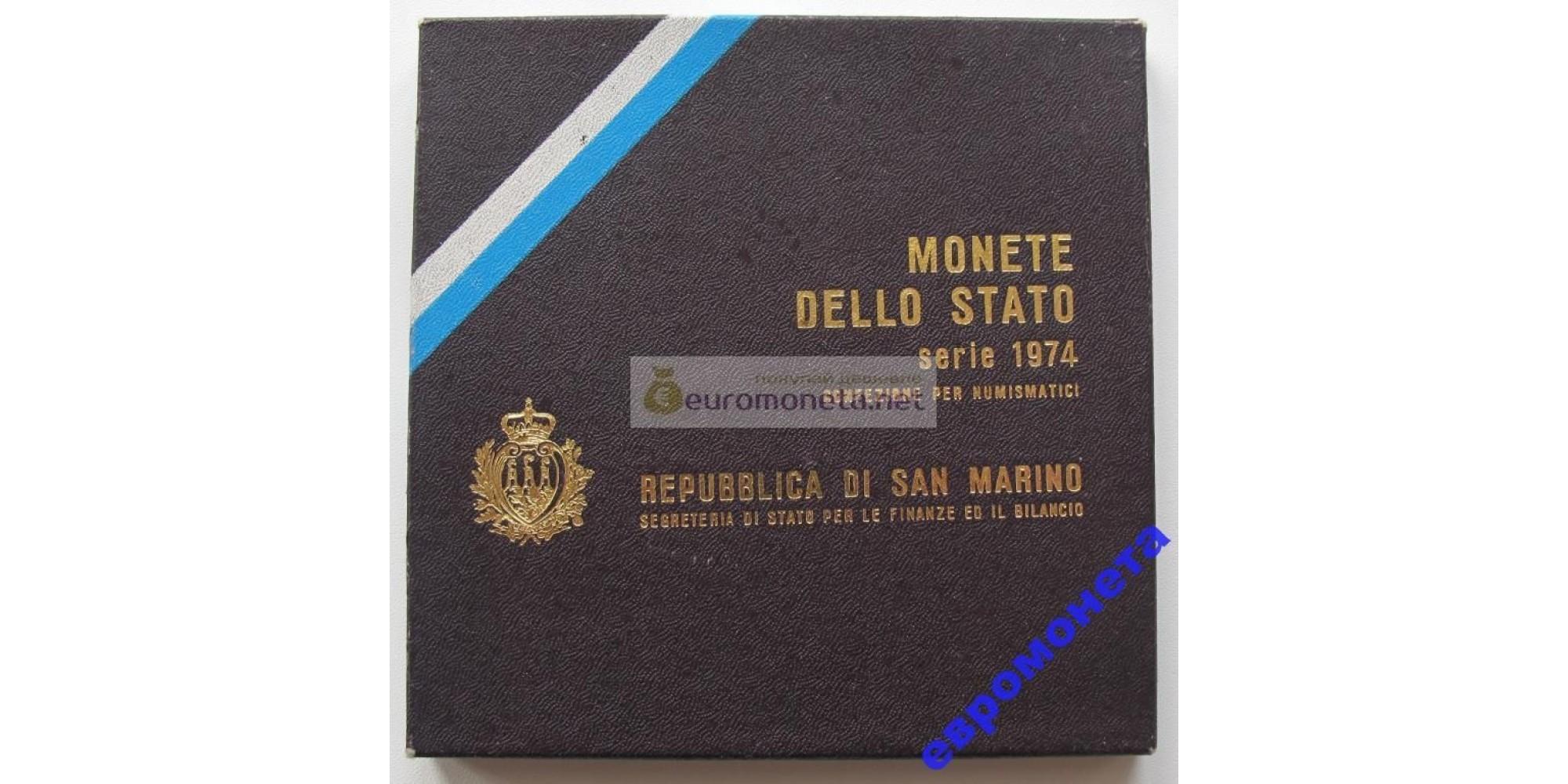Сан-Марино набор монет 1974 год 8 монет включая 500 лир серебро UNC