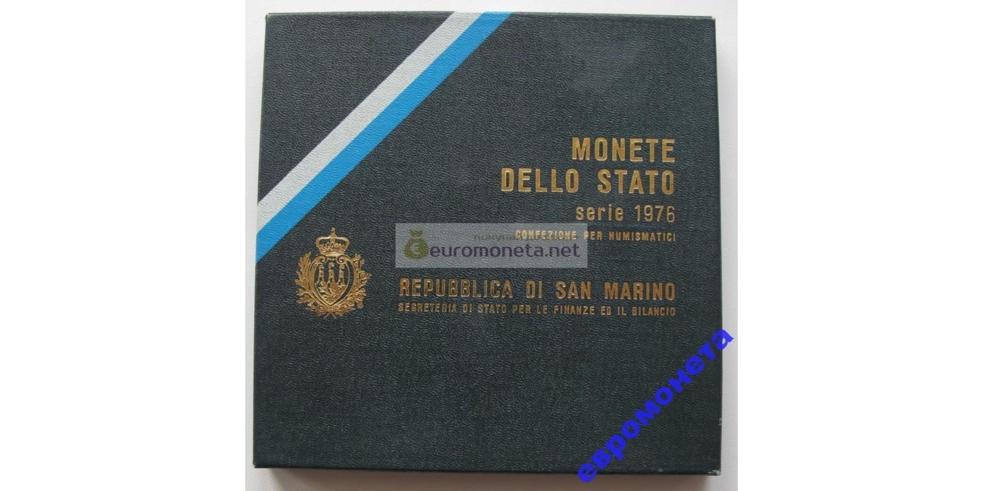 Сан-Марино набор монет 1976 год 8 монет включая 500 лир серебро UNC