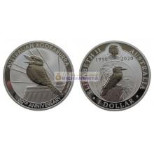"""Австралия 1 доллар 2020 год 30 лет монетам """"Австралийская Кукабарра"""". Серебро. Пруф"""