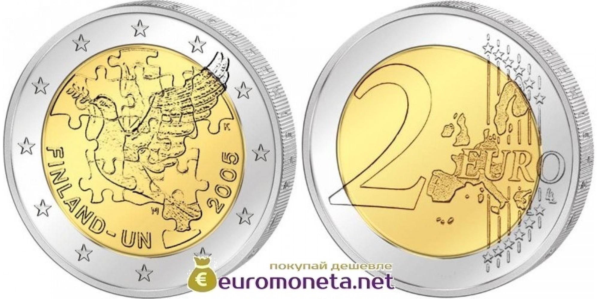 Финляндия 2 евро 2005 год Голубь ООН, биметалл АЦ из банковского ролла