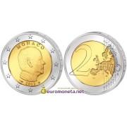 Монако 2 евро 2012 год князь Альберт II, биметалл АЦ из банковского ролла