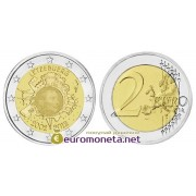 Люксембург 2 евро 2012 год 10 лет наличному обращению евро, биметалл АЦ из ролла