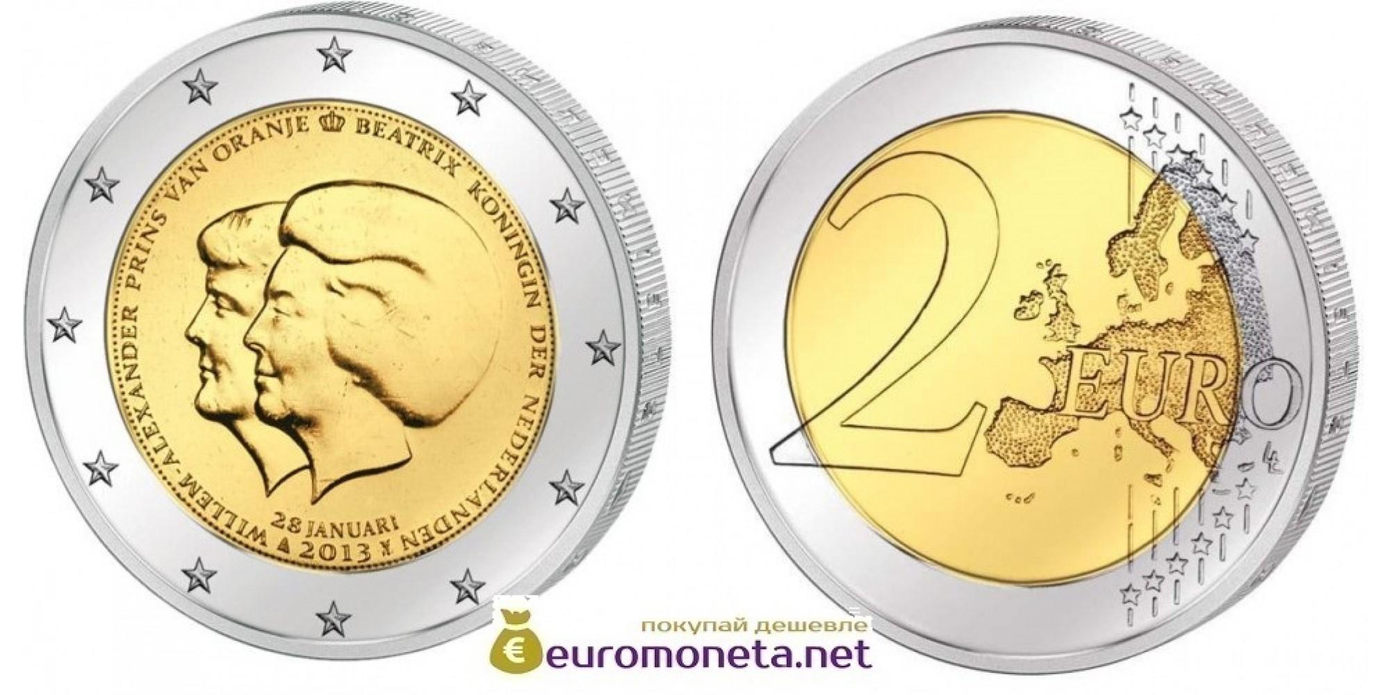 Нидерланды 2 евро 2013 год UNC Двойной портрет: королева Беатрикс и наследный принц Виллем Александр