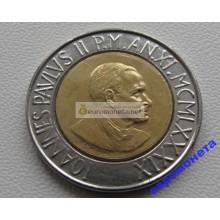 Ватикан 500 лир 1989 биметалл Иоанн Павел 2 АЦ