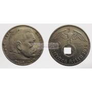 Германия 3 рейх 2 марки 1938 A свастика серебро Гинденбург состояние