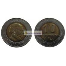Уругвай 10 песо 2000 год биметалл. АЦ из банковского ролла
