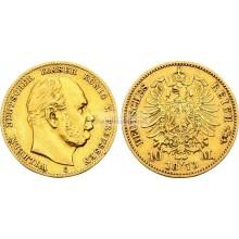 """Германская империя Пруссия 10 марок 1873 год """"C"""" Вильгельм I. Золото"""
