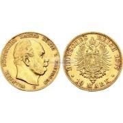 """Германская империя Пруссия 10 марок 1877 год """"C"""" Вильгельм I. Золото"""