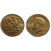Великобритания 1/2 соверена (полсоверена) 1912 год. Король Георг V. Золото.