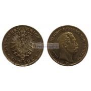 """Германская империя Гессен 10 марок 1876 год """"H"""" Людвиг III. Золото"""