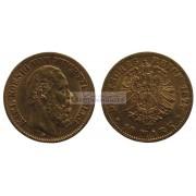 """Германская империя Вюртемберг 10 марок 1877 год """"F"""" Карл. Золото"""
