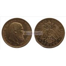 """Германская империя Вюртемберг 10 марок 1900 год """"F"""" Вильгельм II. Золото"""